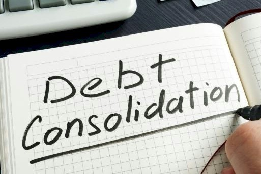 Debt consolidation, written in notebook