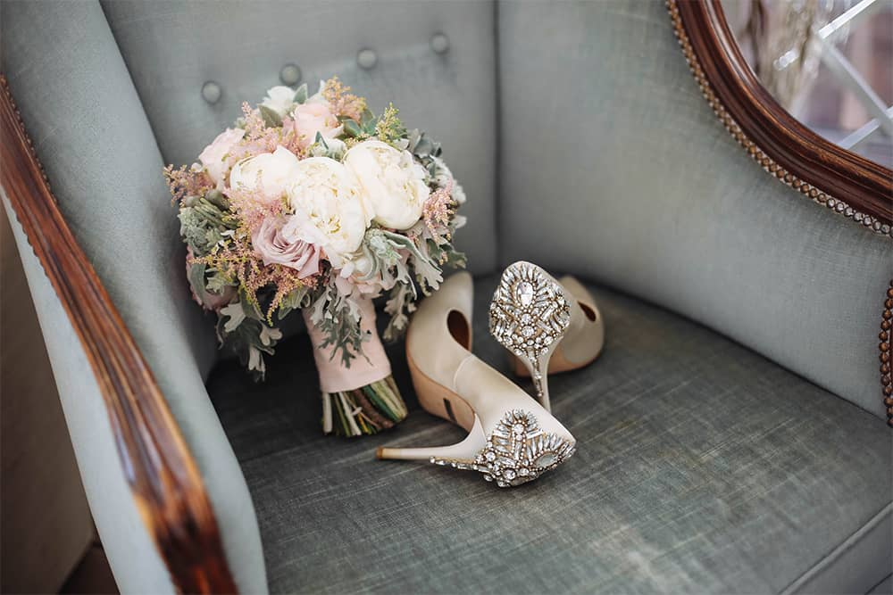 wedding-shoes-and-flowers-purchased-with-wedding-loan